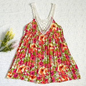💐F21 summer floral layered tunic dress